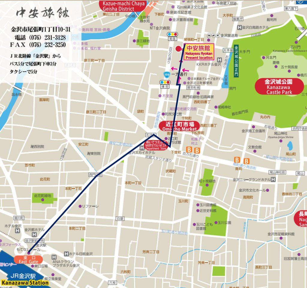 中安駅から地図